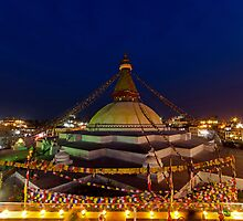 Buddhist Stupa at Dusk by Om Yadav
