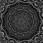 Kaleidoscope 5 black & white geometric fractal mandala pattern by Leah McNeir