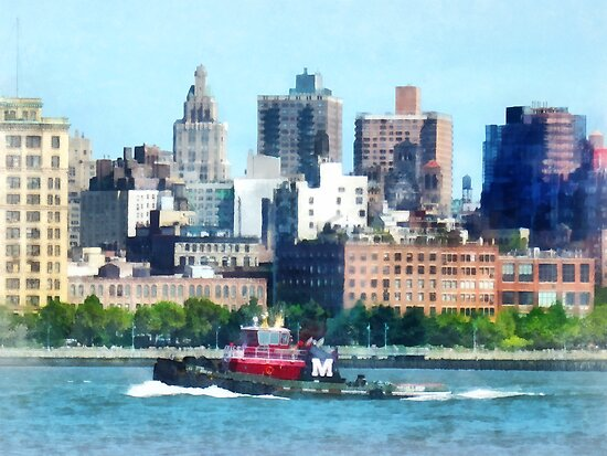 Tugboat Against Manhattan Skyline by Susan Savad
