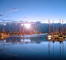 Manly Boats (with flare)  by Ian  Clark