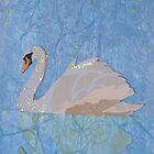 Cut Paper Animal Collage: Swan by chillchey