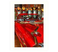 1959 Cadillac At The Pumps Art Print