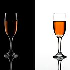 Champagne on Black and White by Oil Water Artt