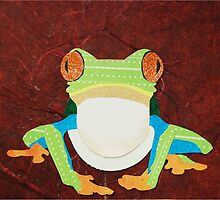 Cut Paper Animal Collage: Red-Eyed Tree Frog by chillchey