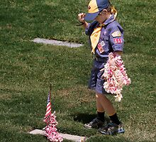 Cub Scout paying respect by Alex Preiss