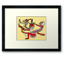 Red aztec Monster - Codex Laud 44 Framed Print