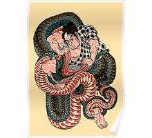 Sagino-ike Heikuro grappling with a huge serpent at the lake of Sayama - Ichiyusai Kuniyoshi  Poster