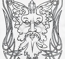 Pen & Ink Greenman by Cynthia McDonald by StarlitSkiesArt