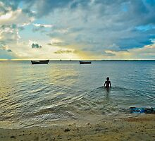 morning dip in the cold sea by merilfloyd