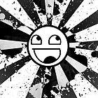 Awesome Face Black & White Splatter Poster by Tanner Johnston