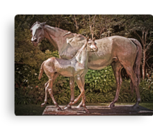 Mare and Foal Sculpture (La Reyna) Canvas Print