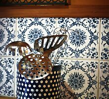 Brixton Cottage on Leura Park - blue kitchen by ElizabethWalton