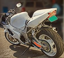 Really cool white motorcycle by happyphotos
