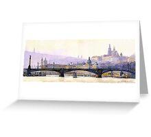 Prague Panorama Cechuv Bridge variant  Greeting Card