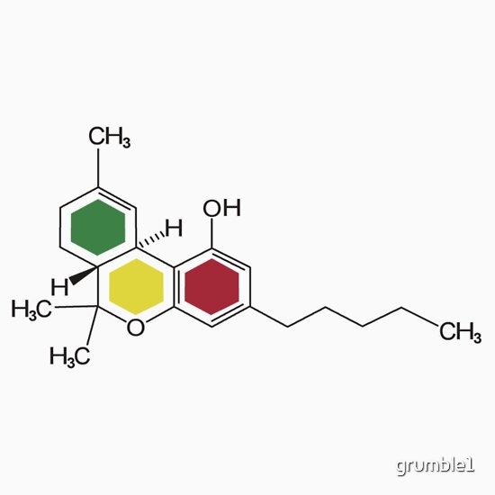 THC Molecules (cannabis marijuana) T-Shirts & Hoodies
