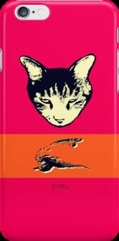 Cat Bird Yum iPhone case by Margaret Bryant