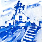 Lighthouse In Blues by arline wagner