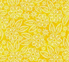 white floral pattern on yellow by demonique