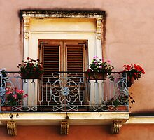 Balcony In Taormina Sicily by Bob Christopher