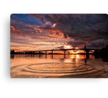 A Rock In The River Canvas Print