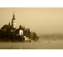 Misty Lake Bled in Sepia Photographic Print
