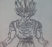 Goku Super Sayin Pencil Drawing by spudzuk