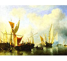 A fleet of sailing ships in the harbour Photographic Print