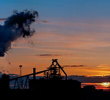 Sun Setting on Redcar Steel Works by Darren Allen