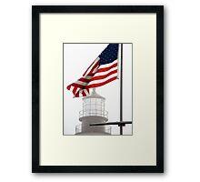 US Flag and Portland Head Light, Maine Framed Print