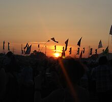 Sunset over Glasto. by Sally Kitten