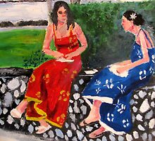 2 Women Having Lunch in Park by Ashley Huston