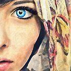 Blue Eye classic digital watercolor portrait painting by Przemysław Bródka