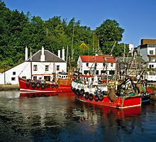 Trawlers at Crinan, Scotland. by David A. L. Davies