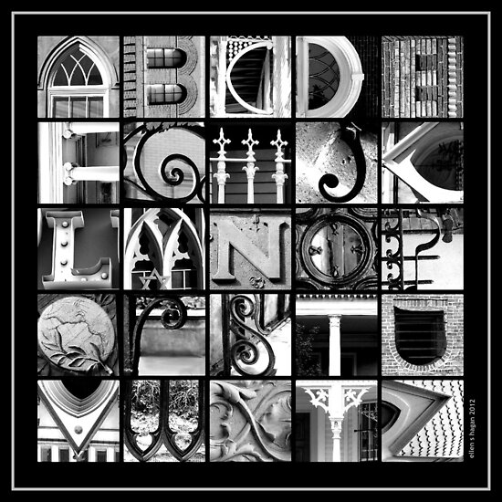 savannah alphabet black and white square by ellen