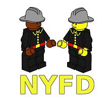 NYFD Firefighter Fire Men Minifigures by Customize My Minifig by Chillee