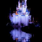 Cinderella's Castle - Blue w/reflection by Mark Fendrick