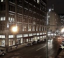 Downtown Street at Night  by ISOsickofboring