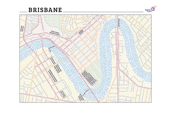 Brisbane Typography Map by svmaps