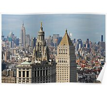 Aerial view of Manhattan buildings from Wall street building rooftop Poster