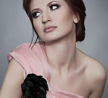 Young woman with black rose by Iryna Shpulak