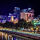 Banks of the Yarra Night Pano Melbourne Australia by PhotoJoJo