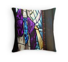 Mother Mary in A Deep Purple Robe - Stained Glass Throw Pillow