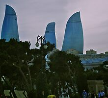 Flame Towers, Baku, Azerbaijan by Lisa Hafey