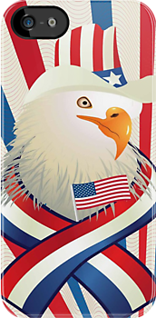 American Patriotic Eagle 4th Of July iPod / iPhone 4 Case by CroDesign