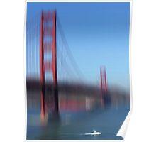 Golden Gate Bridge and white Boat Poster