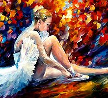 YOUNG BALLERINA- OIL PAINTING BY LEONID AFREMOV by Leonid  Afremov
