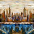 Abstract Bridge Oil Painting by Fred Seghetti