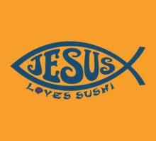 Jesus Loves Sushi - Blue on Gold by Koobooki