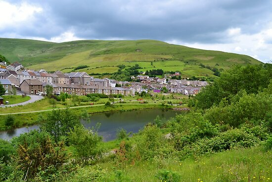 View of Blaengarw from Parc Calon Lan, Garw Valley  by Paula J James