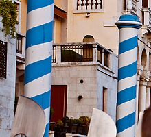 Blue and white striped poles by Michael Brewer